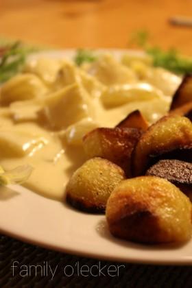 René's Fenchel in Käsesauce mit Bratkartoffeln