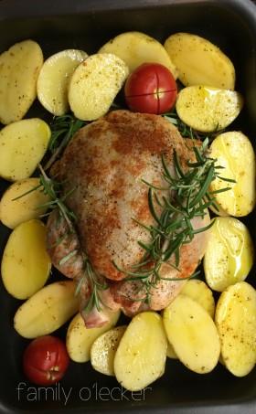 Soulfood im Winter: Poulet mit Ofengemüse und Kartoffelschnitzen