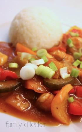 Poulet süss-sauer mit Gemüse (Sweet and Sour)