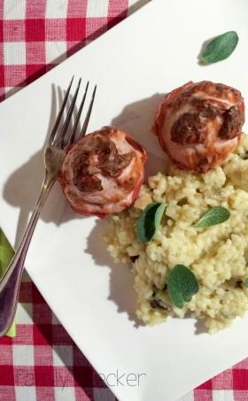 Brät-Muffins im Speckmantel mit Steinpilzrisotto