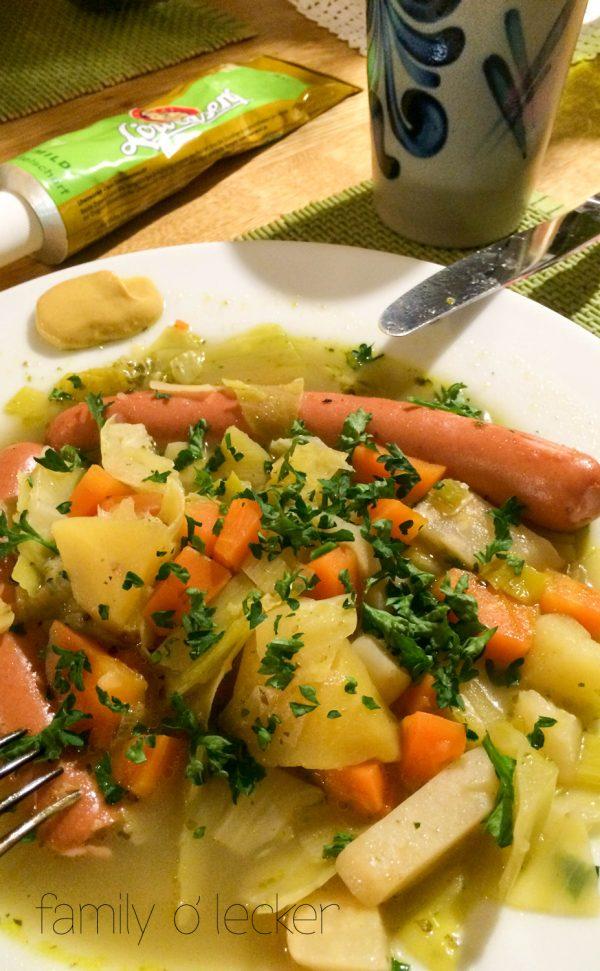 Wintergemüse One Pot mit Wienerli